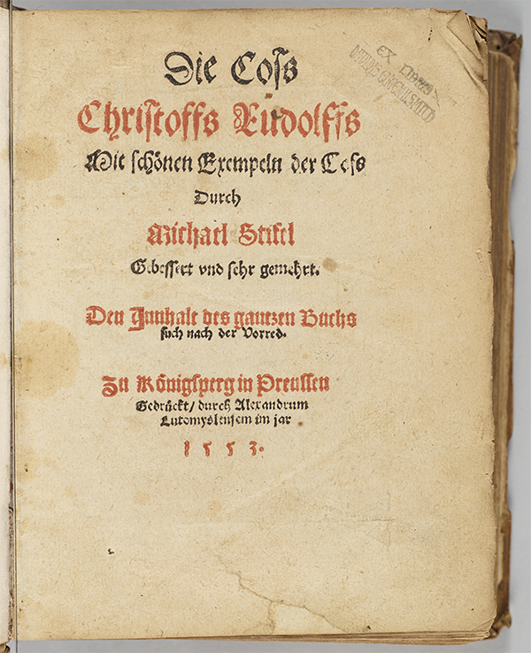 Title page of 1553 edition of Christoff Rudolff's Die Coss.