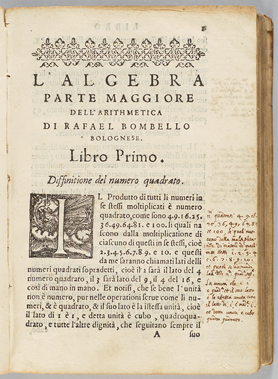 First page of 1579 edition of Rafael Bombelli's L'Algebra Opera.