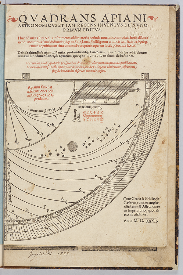Title page of Quadrans Apiani astronomicus by Peter Apian, 1532