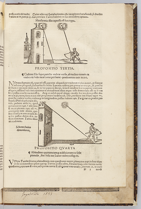 Illustrations of measurements involving shadows from Quadrans Apiani astronomicus by Peter Apian, 1532