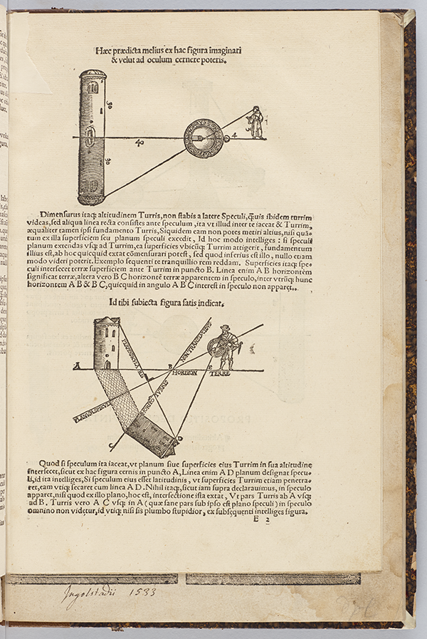 Two additional diagrams illustrating measuements from Quadrans Apiani astronomicus by Peter Apian, 1532