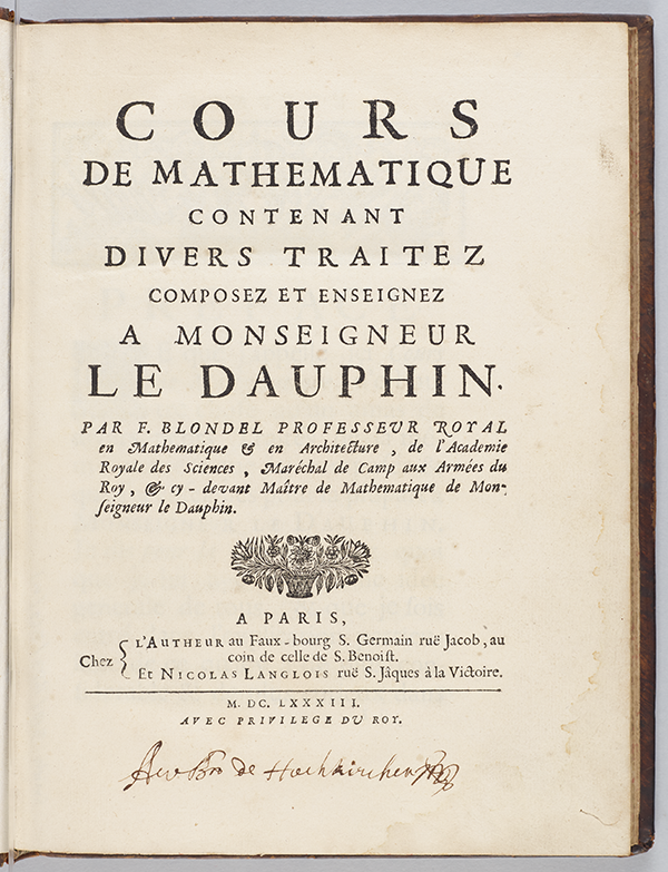 Title page of Cours de mathematique contenant divers traitez by François Blondel, 1683