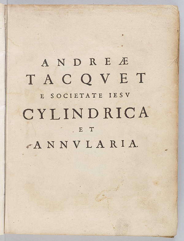 Title page from Tacquet Cylindrica et annularia of 1651