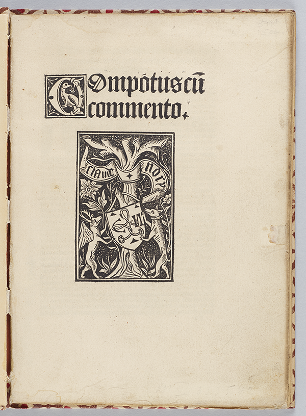 Title page of Computus cum commento by Anianus, 1488