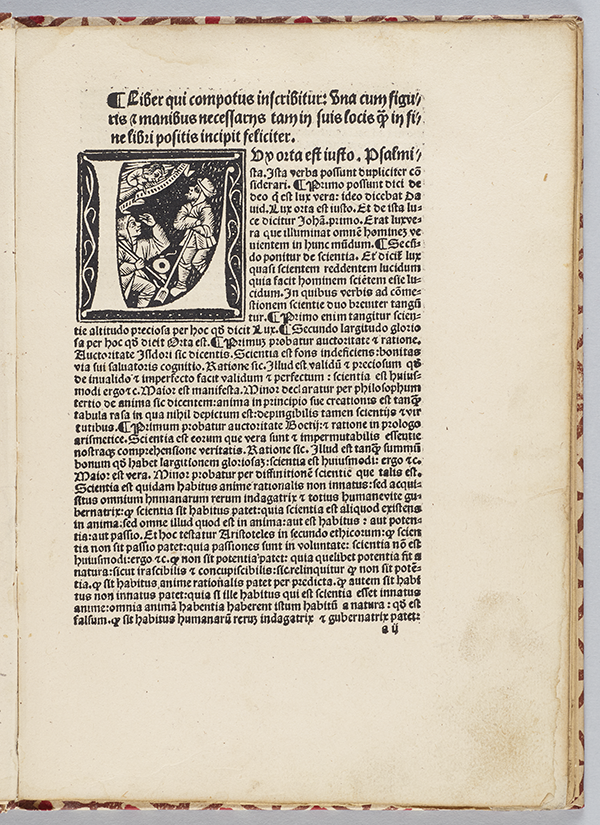 First page of Computus cum commento by Anianus, 1488