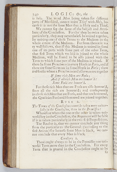 Page 240 of Logic or the Art of Thinking by Arnauld and Nicold (trans. by Ozell), 1727