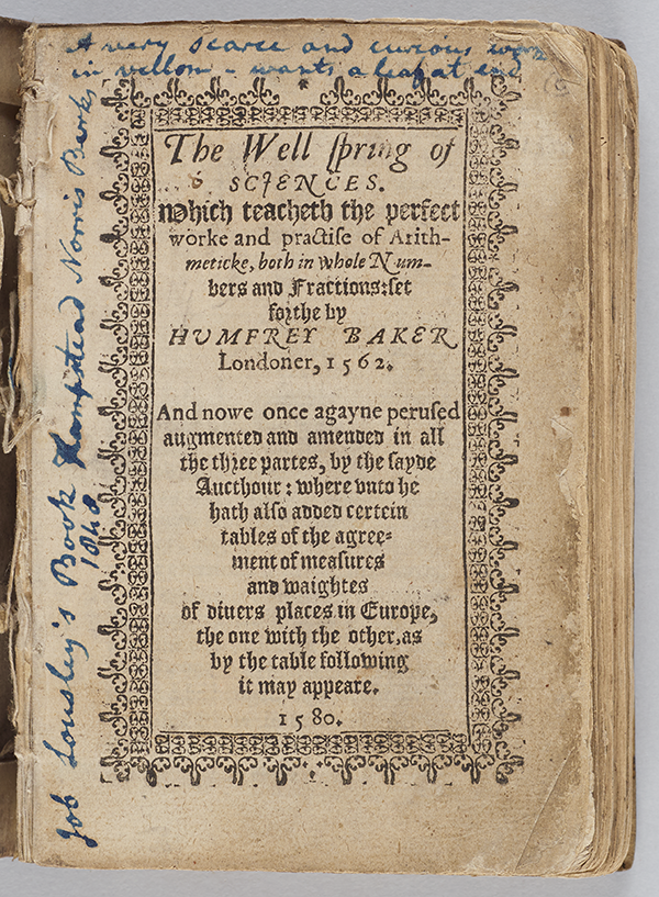 Title page of The Wellspring of Sciences by Humfrey Baker, 1580