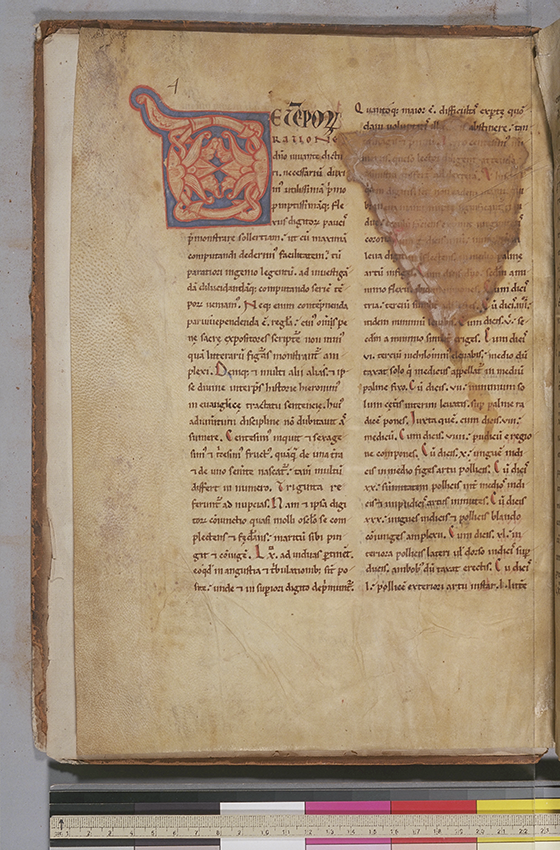 Folio 2 (verso) of De ratione temporum by Bede, circa 1180