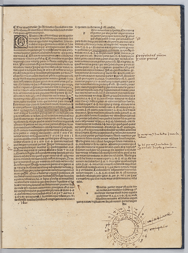 First page of Arithmethica by Thomas Bradwardine, 1513