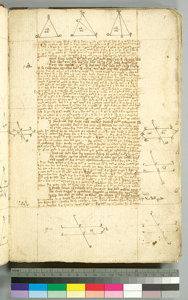 Folio 5 from English manuscript of Euclid's Elements in Latin, circa 1385-1399