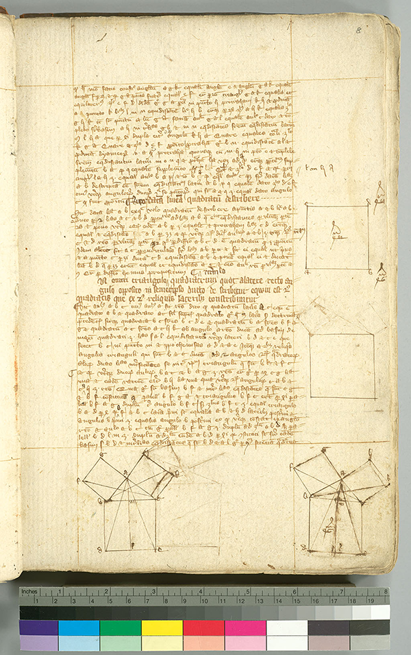 Folio 8 from English manuscript of Euclid's Elements in Latin, circa 1385-1399
