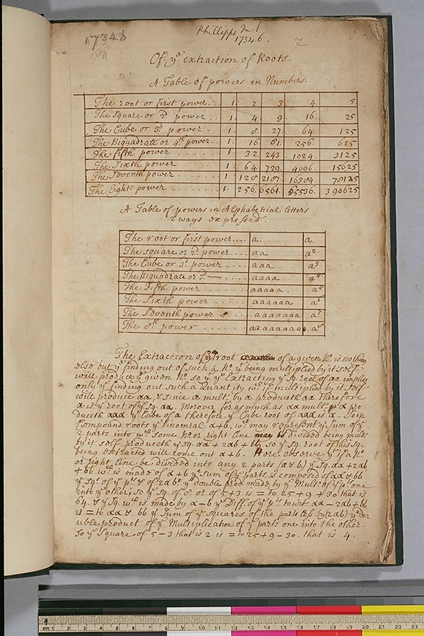 Folio 1 of a 17th century English university student's mathematical notes