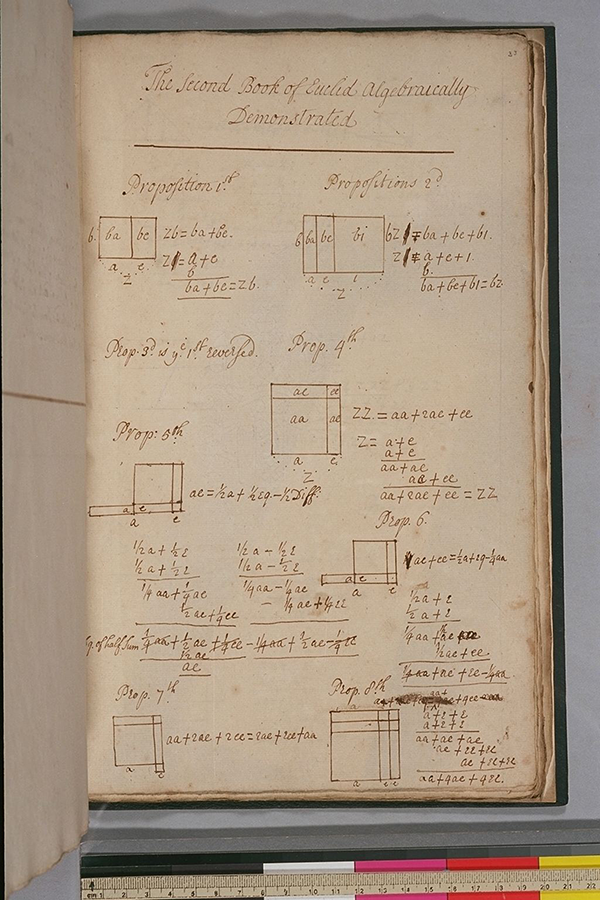 Folio 33 of a 17th century English university student's mathematical notes