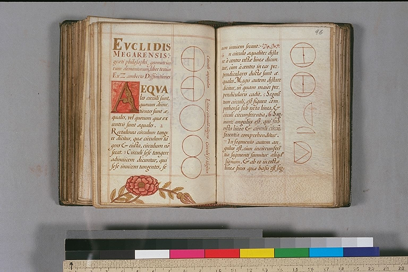 Folios 95v-96 of Italian edition of Euclid's Elements, circa 1510
