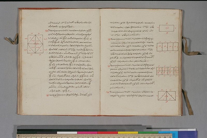 Folios 28 (verso) and 29 of manuscript copy of Hero of Alexandria's commentary on Euclid's Elements, from the 16th centur