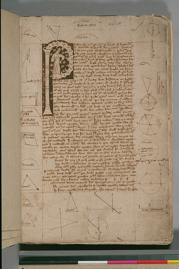 Folio 1 from English manuscript of Euclid's Elements in Latin, circa 1385-1399