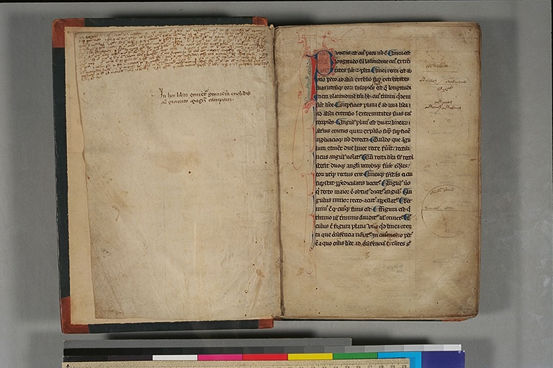 Folios i (verso) and 1 of Geometria Euclidis cum commento magistri Campani, c. 1300-1315