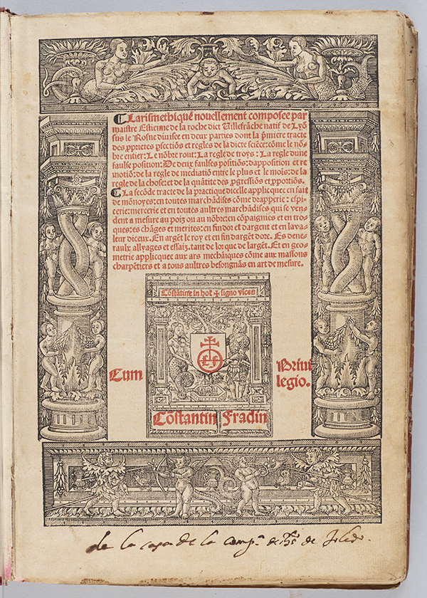 Title page of Larismetique by La Roche, 1520
