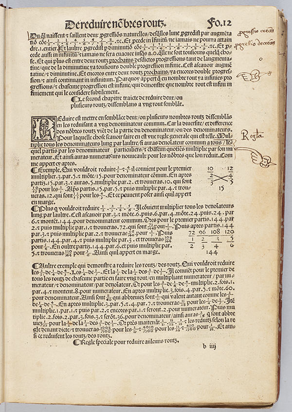 Folio 12 concerning fractions from Larismetique by La Roche, 1520