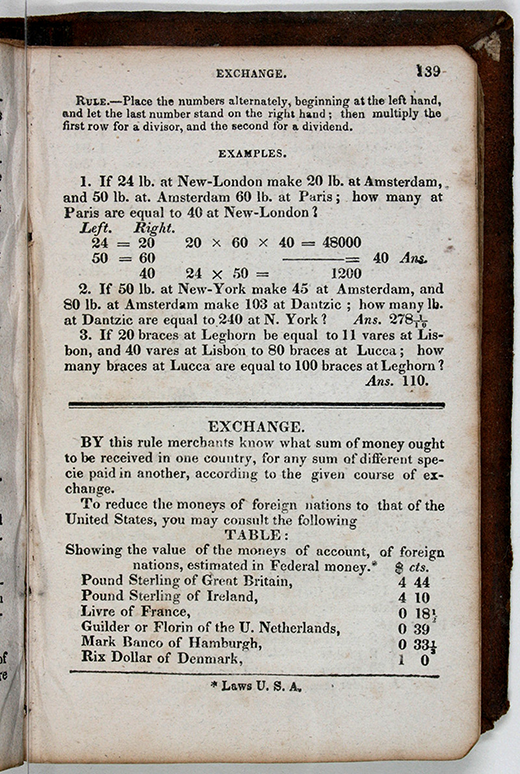 Page 139 of 1829 edition of Nathan Daboll's Schoolmaster's Assistant.