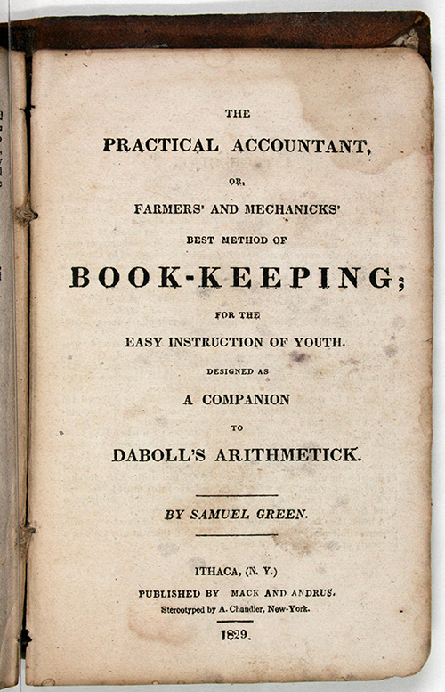 Supplement on bookkeeping in 1829 edition of Nathan Daboll's Schoolmaster's Assistant.
