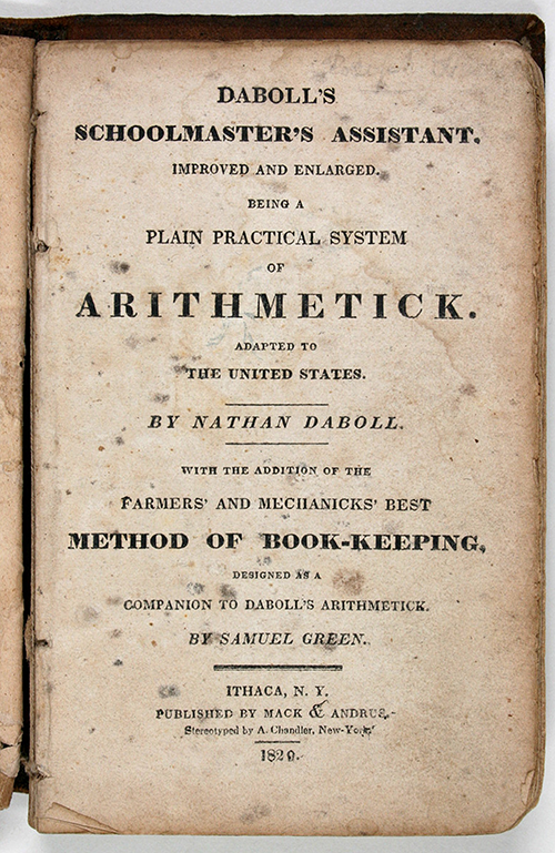 Title page of 1829 edition of Nathan Daboll's Schoolmaster's Assistant.
