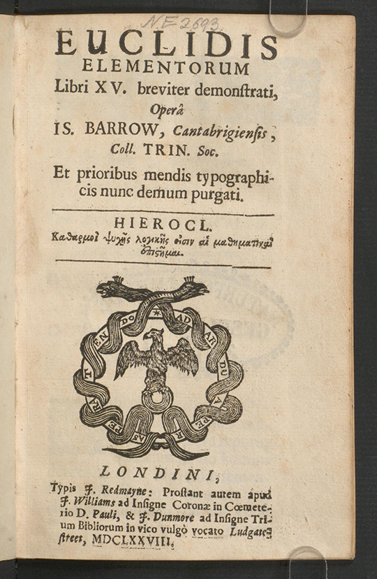 Title page of Euclidis Elementorum by Isaac Barrow, 1678