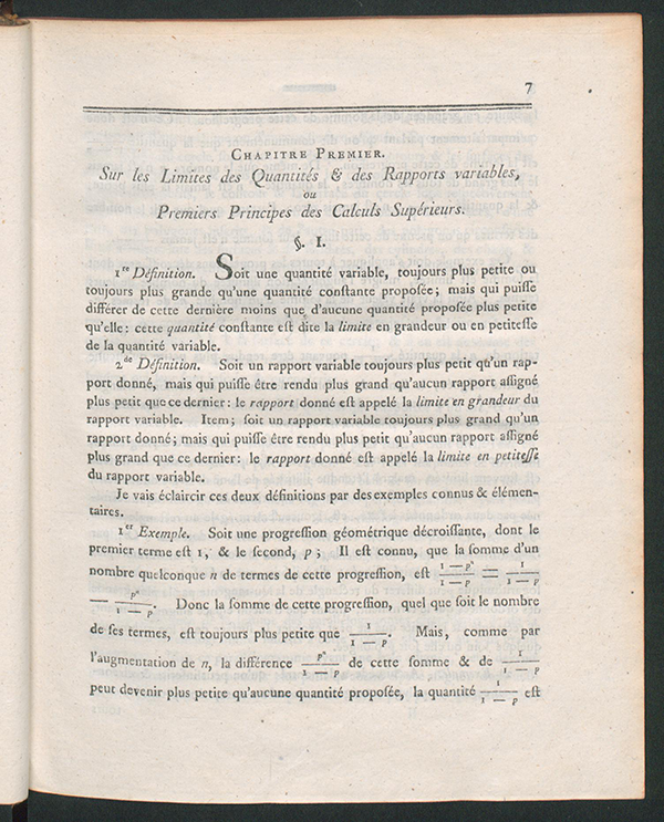 First page of first chapter in Exposition élémentaire des principes des calculs supérieurs by Simon L'Huilier, 1786