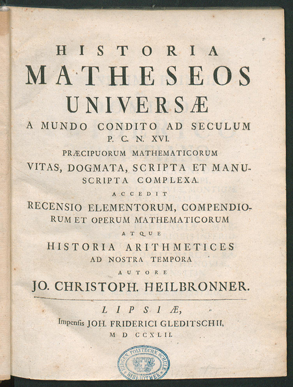 Heilbronner's 1742 History of Mathematics