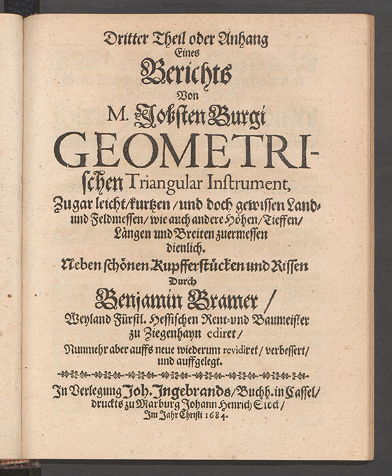 First page of the third part of of Apollonius Cattus oder ... Geometriae by Benjamin Bramer and Jost Burgi, 1684