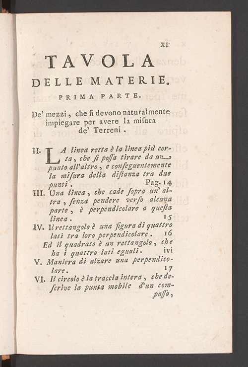First page of table of contents for Italian translation of Élémens de Géométrie by Alexis Claude Clairaut, 1771