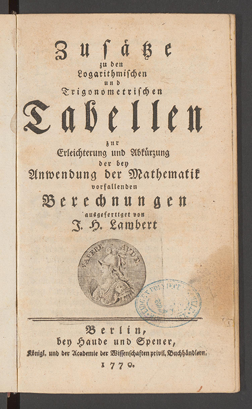 Title page of Additions to Logarithmic and Trigonometric Tables by Johann Lambert, 1770