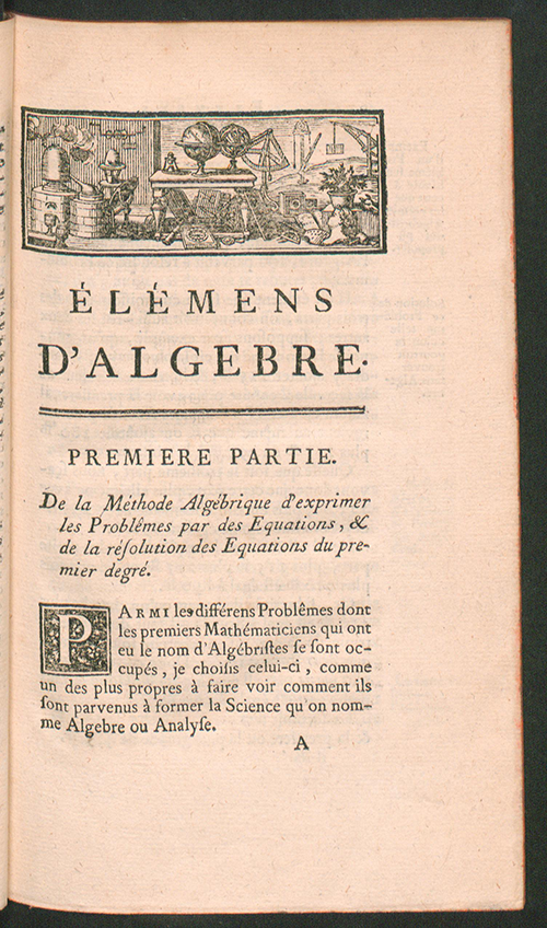 Page one of Élémens d'Algebre, third edition,  by Alexis Claude Clairaut, 1760