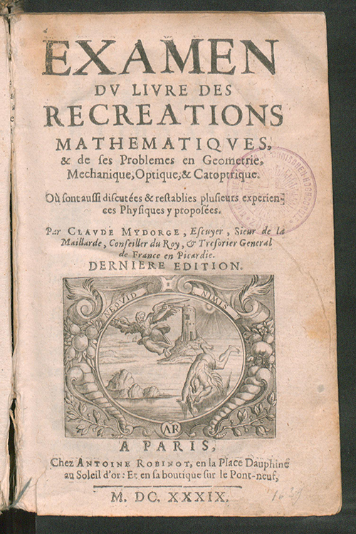 Mydorge's 1639 Recreational Mathematics