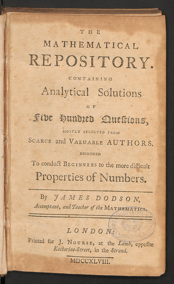 Title page of The Mathematical Repository, Volume I, James Dodson, 1748