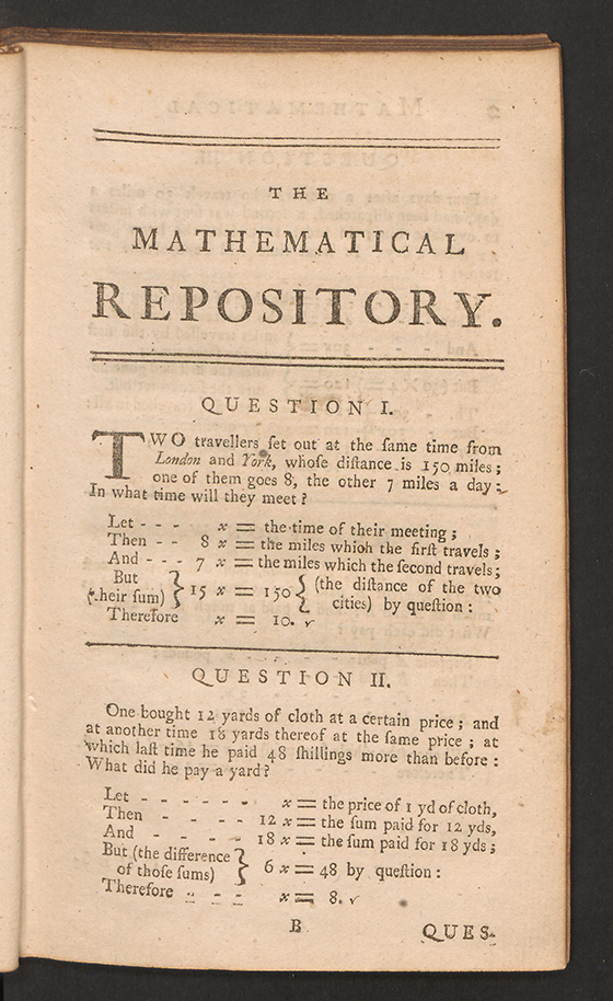 Page 1 of The Mathematical Repository, Volume I, James Dodson, 1748
