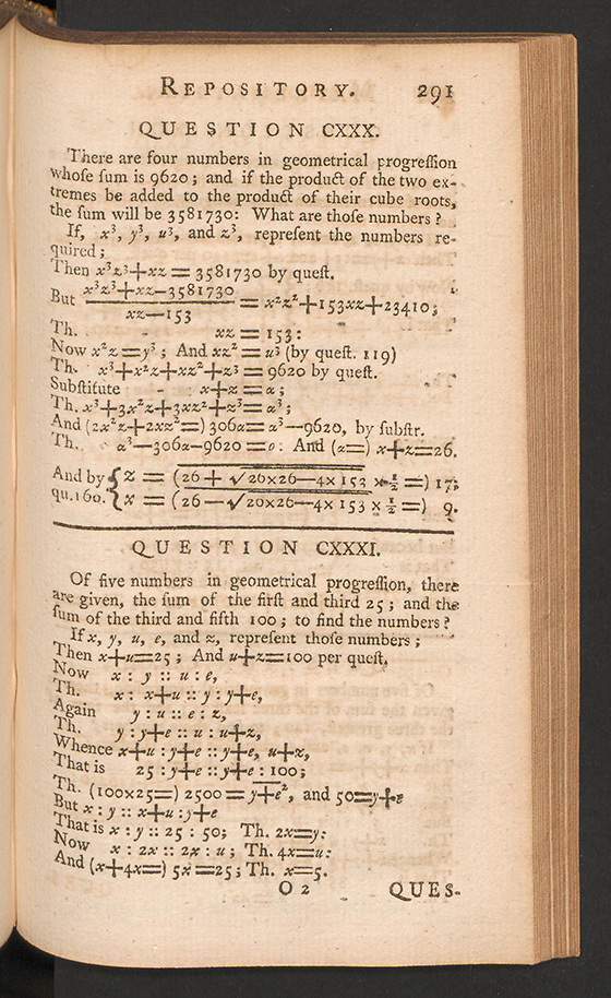 Page 291 of The Mathematical Repository, Volume I, James Dodson, 1748