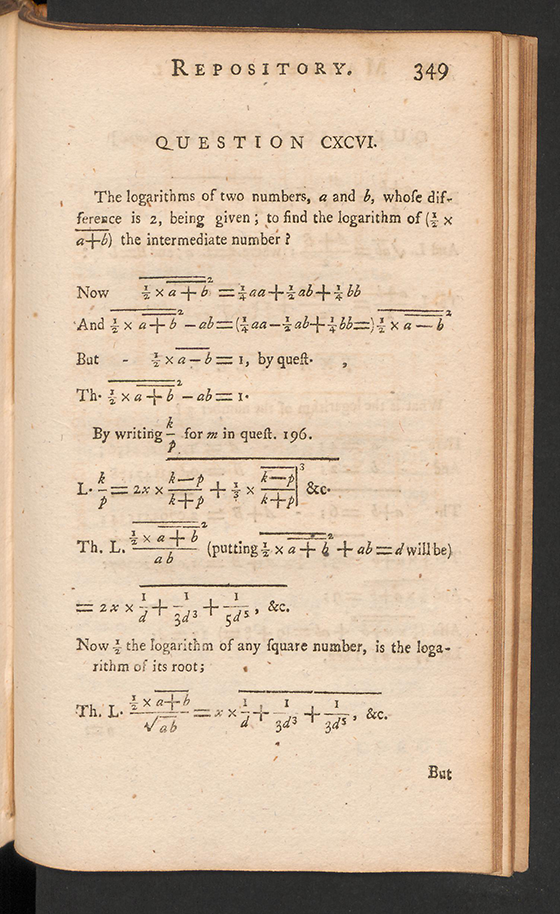 Page 349 of The Mathematical Repository, Volume I, James Dodson, 1748