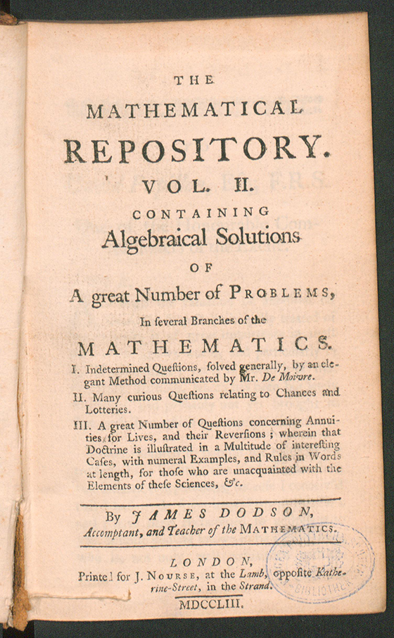 Title page of The Mathematical Repository, Volume II, James Dodson, 1753