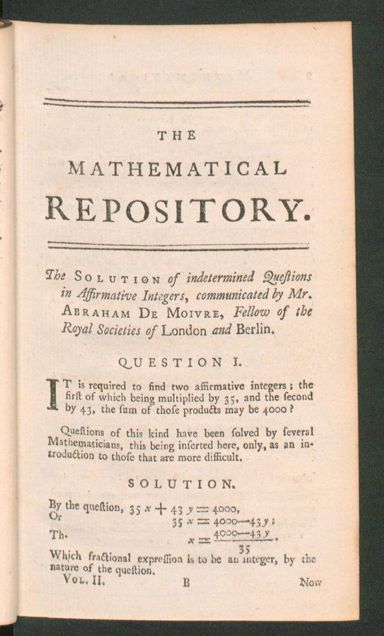 Page 1 of The Mathematical Repository, Volume II, James Dodson, 1753
