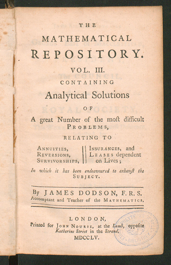 Title page of The Mathematical Repository, Volume III, James Dodson, 1755
