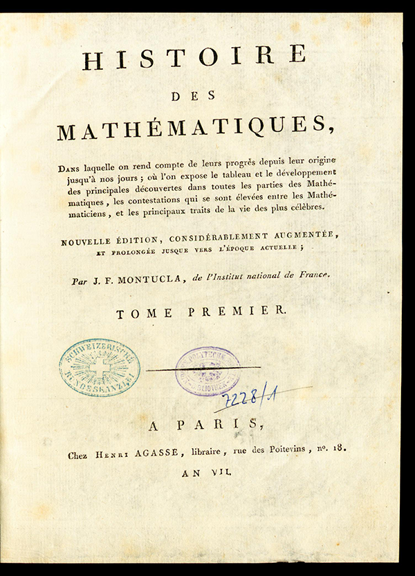 Title page from Montucla's History of Mathematics (1799-1802)