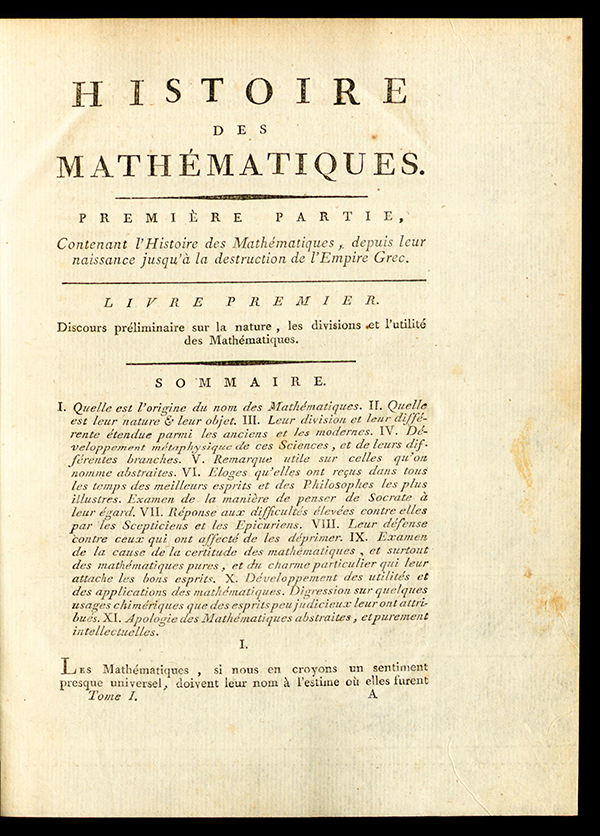 First page of Montucla's History of Mathematics (1799-1802)