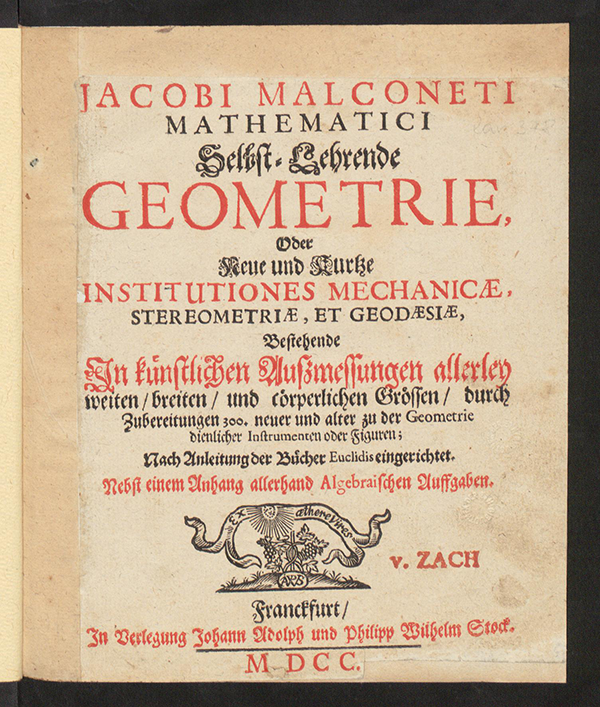 Title page of Selbst-Lehrende Geometrie by Jacob Malconet, 1700