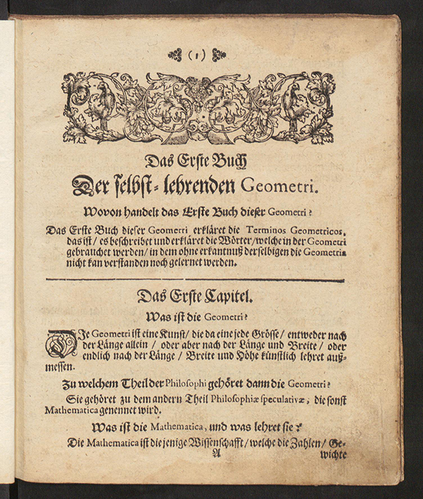 First page of Selbst-Lehrende Geometrie by Jacob Malconet, 1700