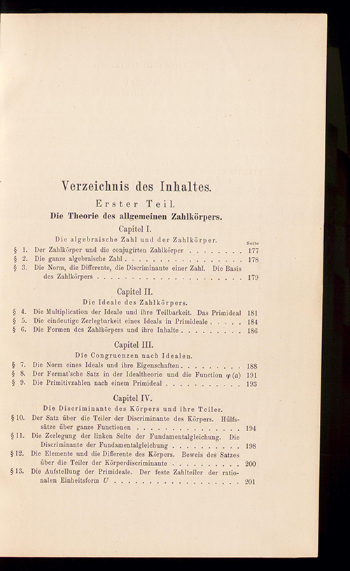 Page 1 of the table of contents to Part I of Die Theorie der algebraischen Zahlkörper by David Hilbert, 1897