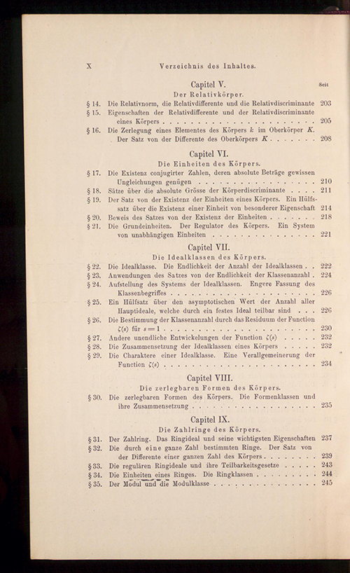Page 2 of the table of contents to Part I of Die Theorie der algebraischen Zahlkörper by David Hilbert, 1897