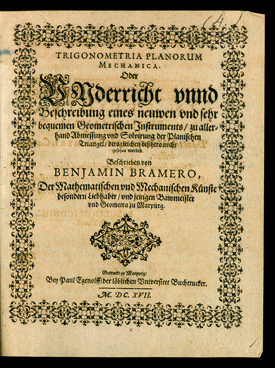 Title page of Trigonometria planorum mechanica by Benjamin Bramer, 1617