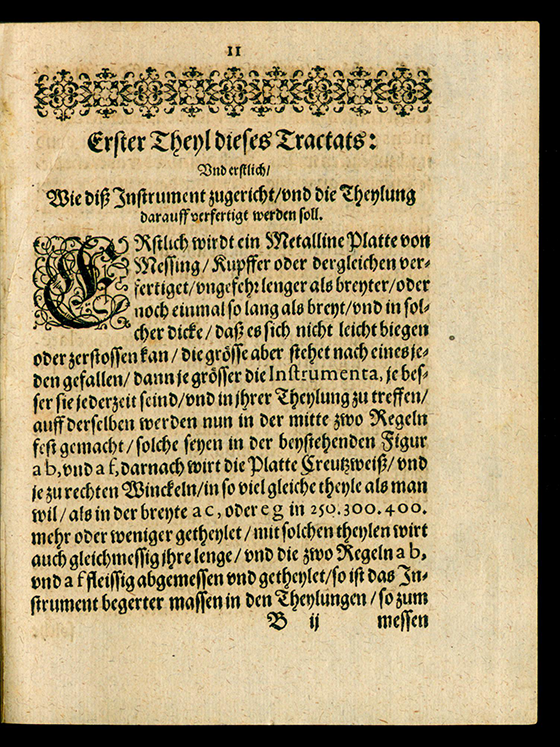 Page 11 of Trigonometria planorum mechanica by Benjamin Bramer, 1617