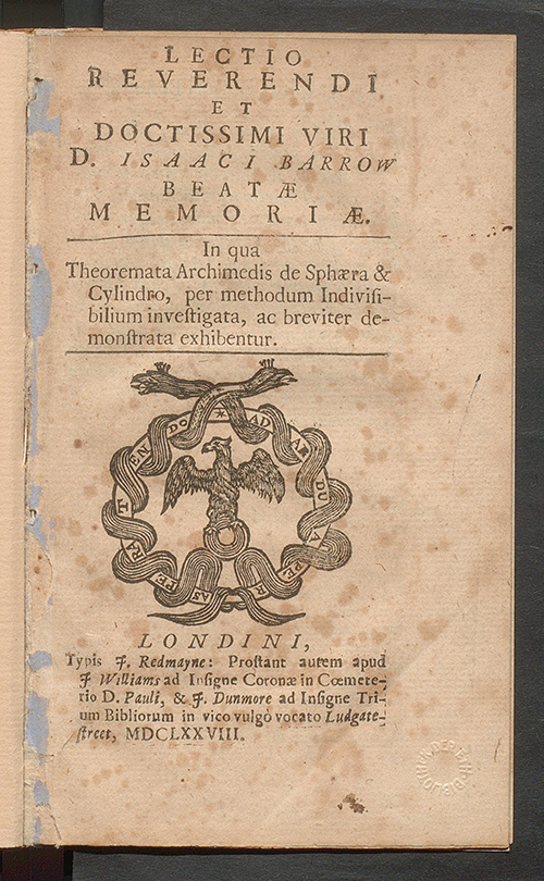 Title page of Isaac Barrow's published lecture on Archimedes' theories, 1678